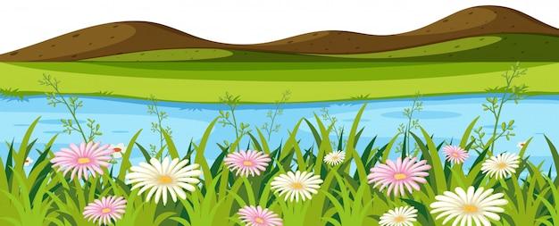 Landschaftshintergrund mit kleinen hügeln und fluss Premium Vektoren