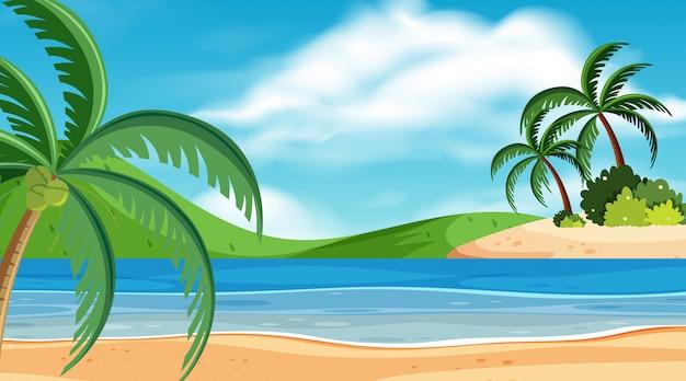 Landschaftshintergrund mit ozean am tag Premium Vektoren
