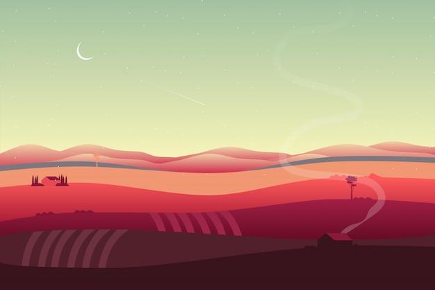 Landschaftshintergrund mit tal- und abhanglandschaft Premium Vektoren