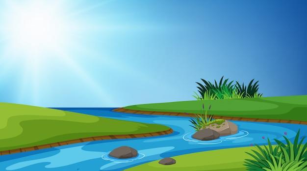 Landschaftshintergrund von fluss und von grünem gras Premium Vektoren