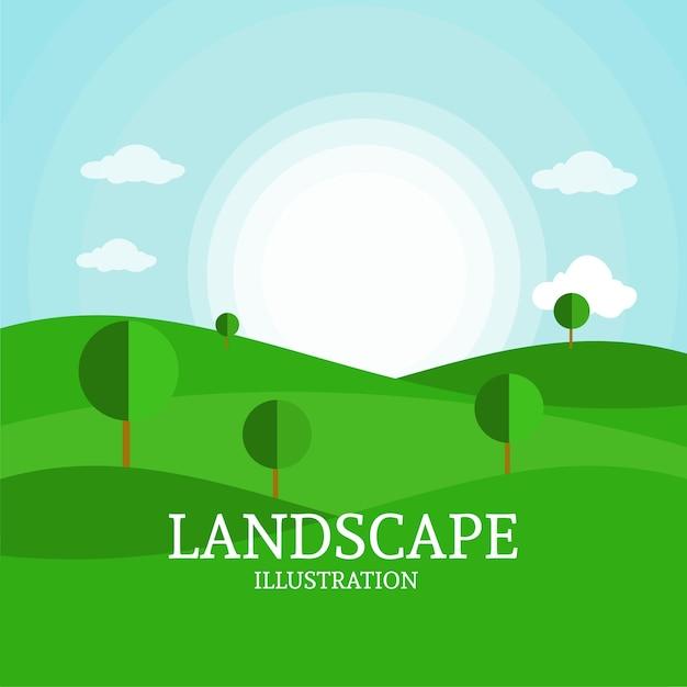 Landschaftshintergrund Premium Vektoren