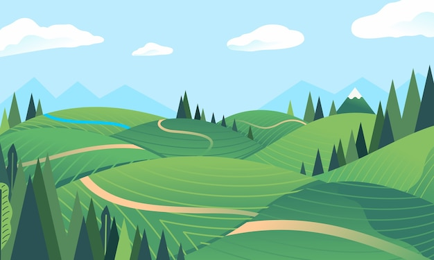 Landschaftshügel, berg im hintergrund, wald, grünes feld, kleiner fluss. wird für poster, banner, webbilder und andere verwendet Premium Vektoren