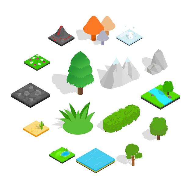 Landschaftsikonensatz, isometrische art Premium Vektoren