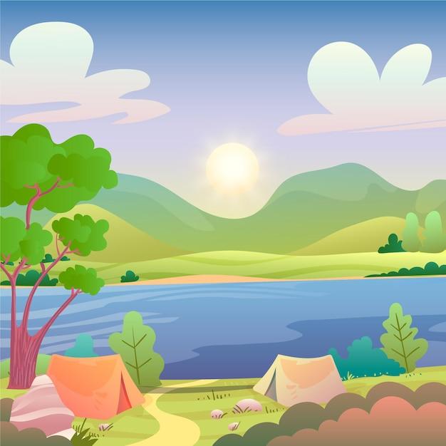 Landschaftsillustration des campingbereichs mit see Kostenlosen Vektoren