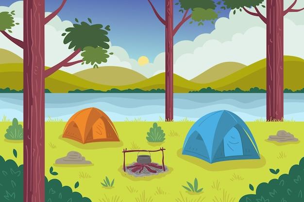 Landschaftsillustration des campingbereichs Kostenlosen Vektoren