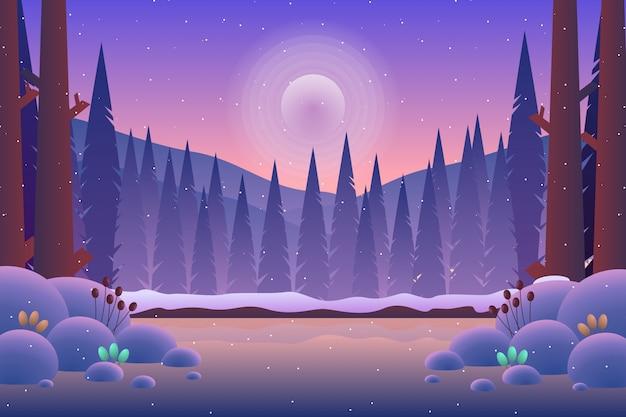 Landschaftskiefernwald mit illustration des berges und des purpurroten himmels Premium Vektoren