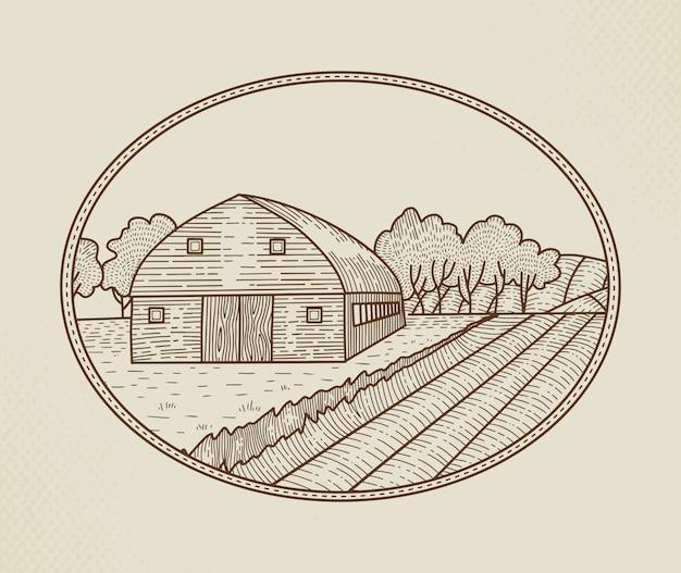 Landschaftslandschaft im grafischen stil mit bauernhof und feld Premium Vektoren