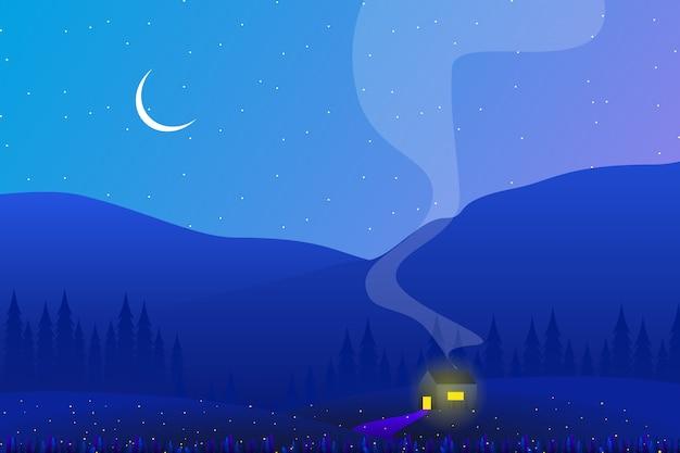 Landschaftslandseite mit kiefernwald- und himmelnacht Premium Vektoren