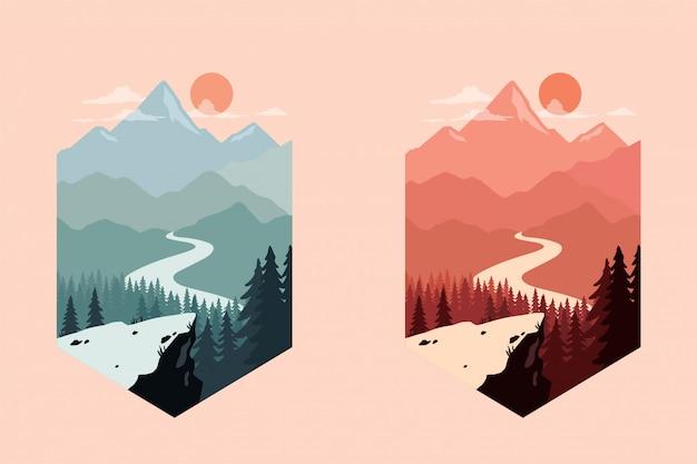 Landschaftsschattenbild-vektorillustration mit buntem design Premium Vektoren