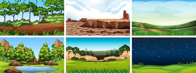 Landschaftsszene der natürlichen umwelt Kostenlosen Vektoren