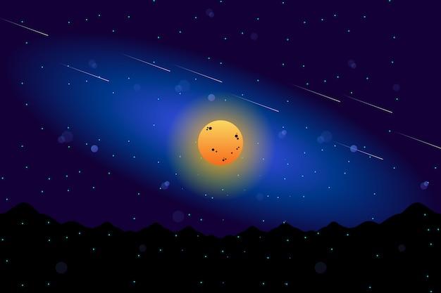 Landschaftsvollmond mit sternenklarer illustration des nächtlichen himmels Premium Vektoren