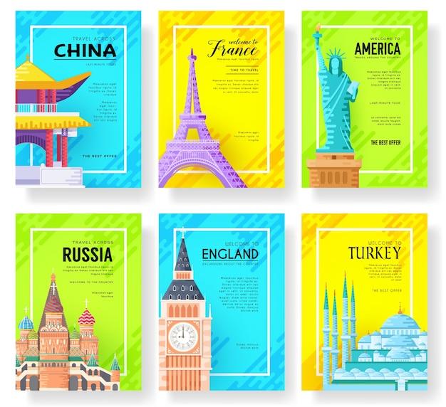 Landschaftsvorlage von flyear, plakaten, buch, fahnen. Premium Vektoren
