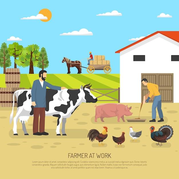 Landwirt bei der arbeit hintergrund Kostenlosen Vektoren