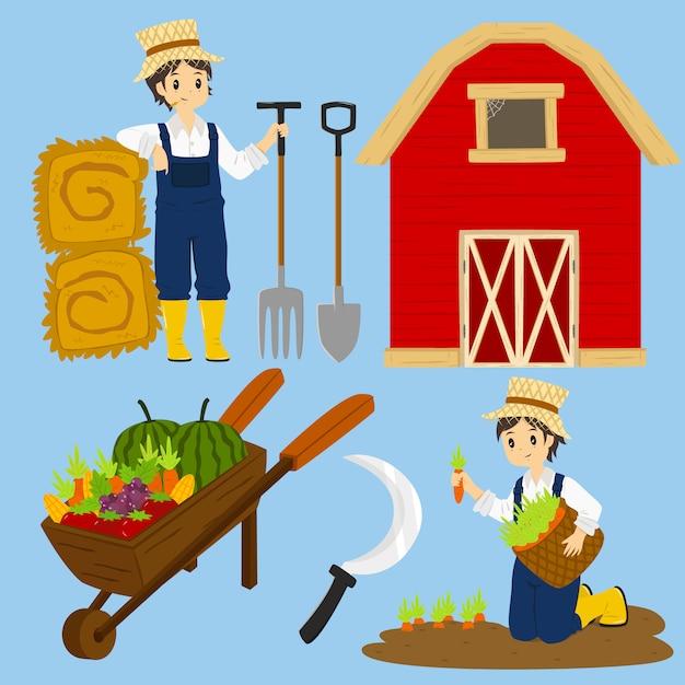 Landwirt-charakter-vektor Premium Vektoren