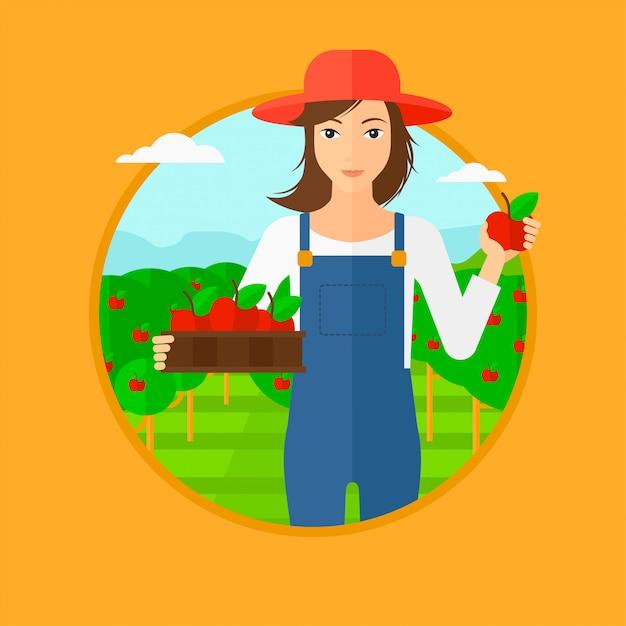 Landwirt, der äpfel sammelt. Premium Vektoren