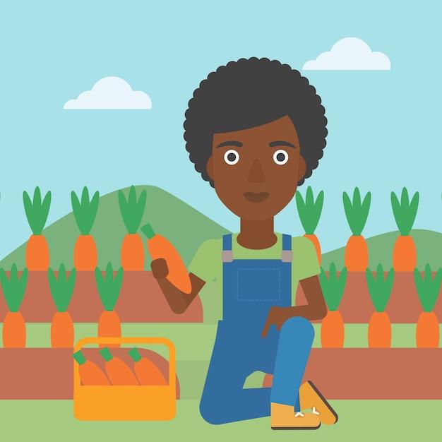 Landwirt, der karotten sammelt Premium Vektoren