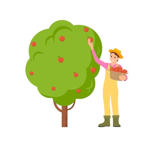 Landwirt erntezeit illustration Premium Vektoren