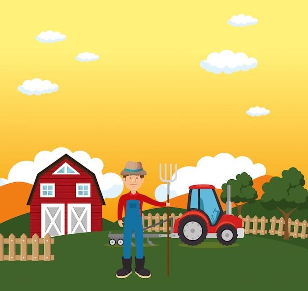Landwirt in der bauernhofszene Kostenlosen Vektoren