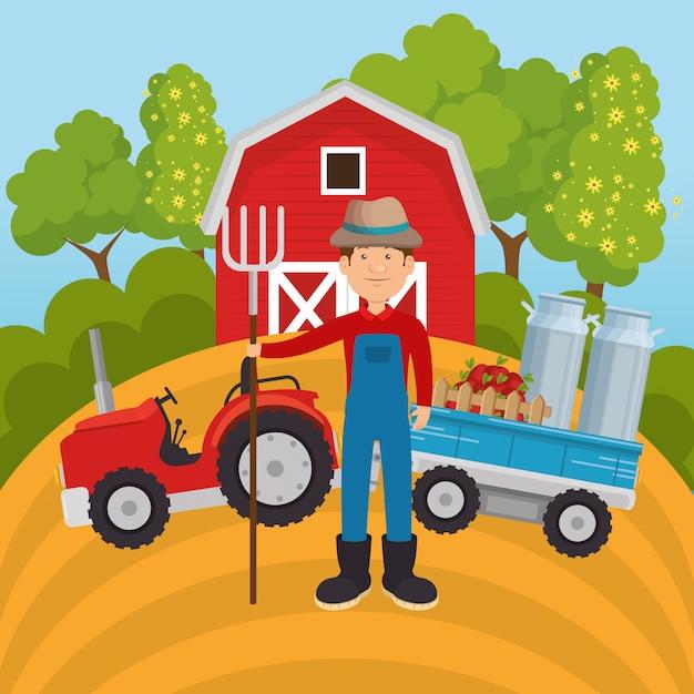 Landwirt in der bauernhofszene Premium Vektoren