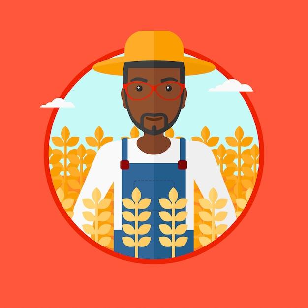 Landwirt in der weizenfeld-vektorillustration. Premium Vektoren
