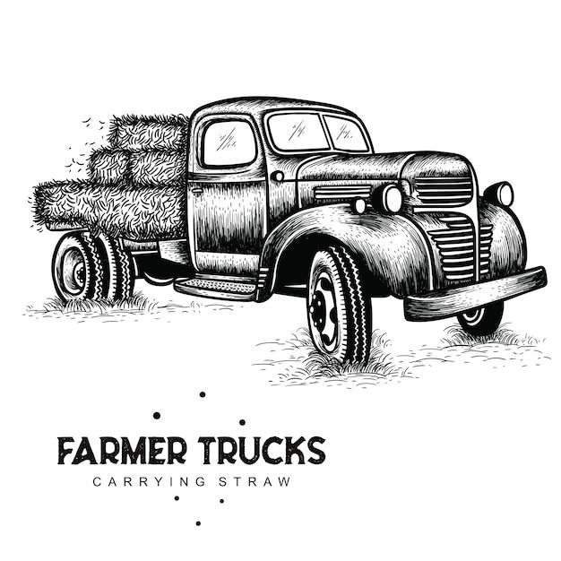 Landwirt lastwagen mit stroh Premium Vektoren