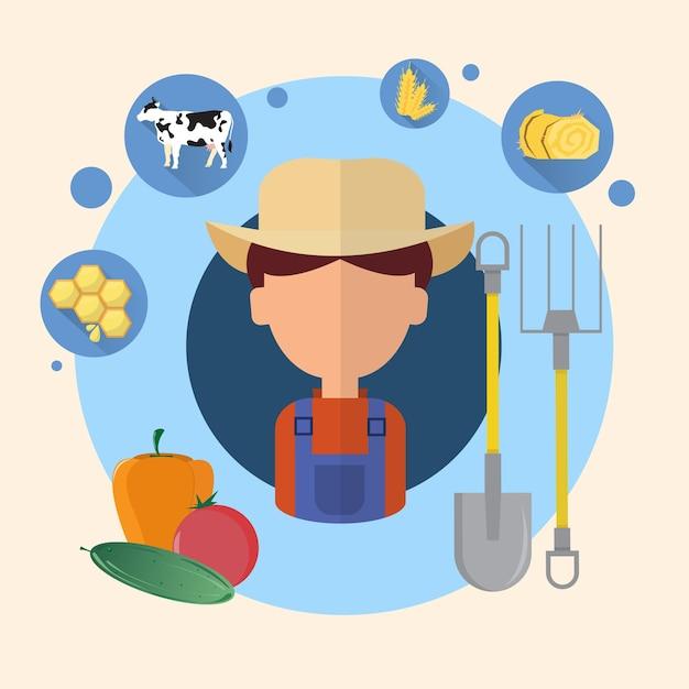 Landwirt man landwirtschaft icon Premium Vektoren