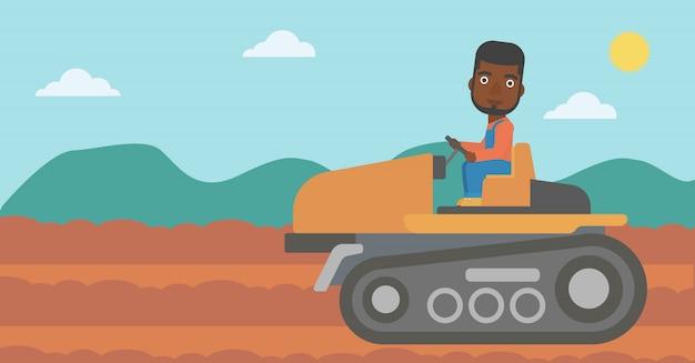 Landwirt traktor fahren Premium Vektoren