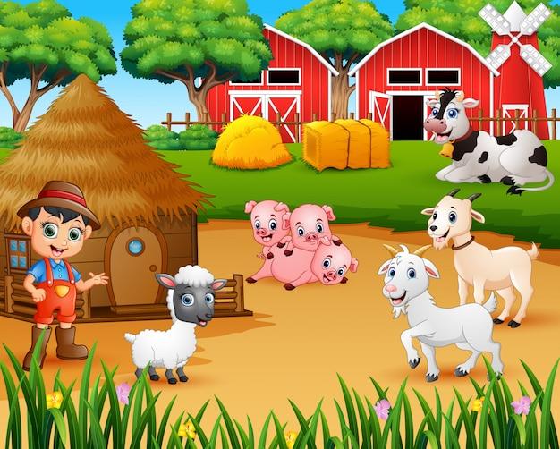 Landwirt und vieh auf dem hof Premium Vektoren