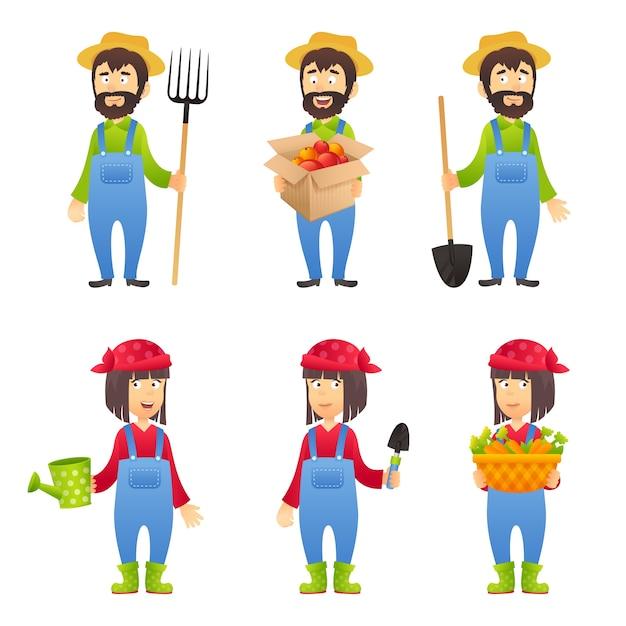 Landwirt Zeichentrickfigur Kostenlose Vektoren