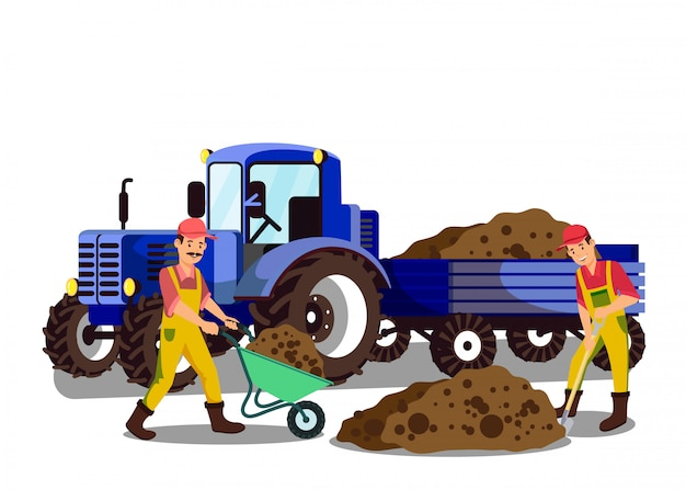 Landwirte, die grundflache vektor-illustration graben Premium Vektoren