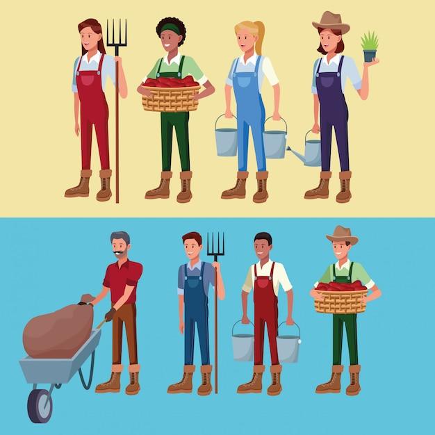 Landwirte, die in den bauernhofkarikaturen arbeiten Kostenlosen Vektoren