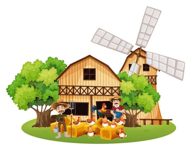 Landwirte und hühner auf dem bauernhof Kostenlosen Vektoren