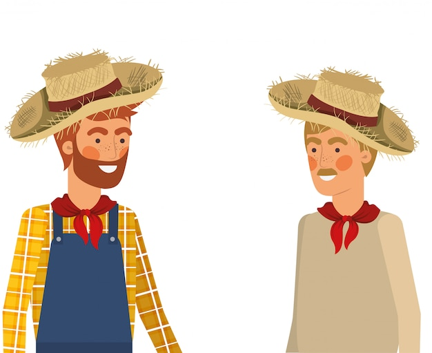 Landwirtmänner, die mit strohhut sprechen Premium Vektoren