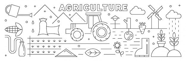 Landwirtschaft dünne linie kunst design. branchenkonzept. flache gekritzelart Premium Vektoren