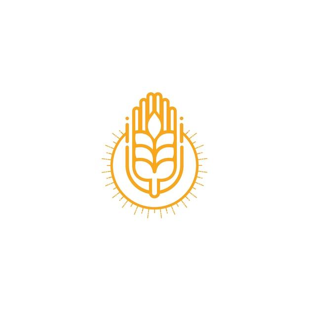 Landwirtschaft Weizen Logo Vektor Vorlage Icondesign