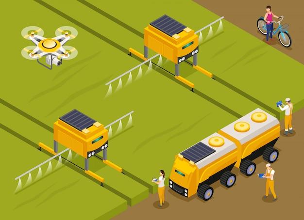 Landwirtschaftliche automatisierte roboter, die pestizide düngen und auf pflanzen mit einer isometrischen zusammensetzung der drohne im überwachungsbereich sprühen Kostenlosen Vektoren