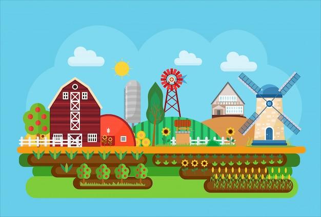 Landwirtschaftliche dorflandschaft Premium Vektoren