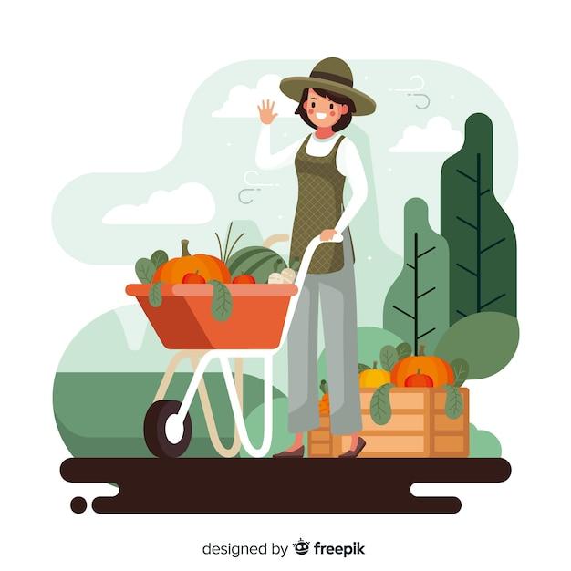 Landwirtschaftliche frau mit dem korb voll von den veggies Kostenlosen Vektoren