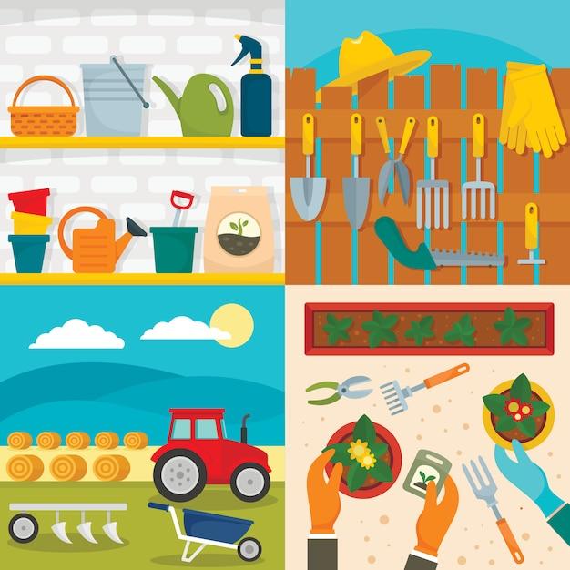 Landwirtschaftliche geräte Premium Vektoren