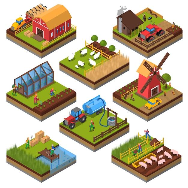 Landwirtschaftliche kompositionen isometric set Kostenlosen Vektoren