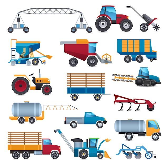 Landwirtschaftliche maschinen icons set Kostenlosen Vektoren