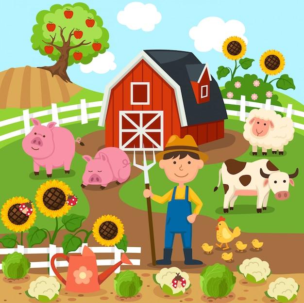 Landwirtschaftliche produktion ländliche landschaft Premium Vektoren