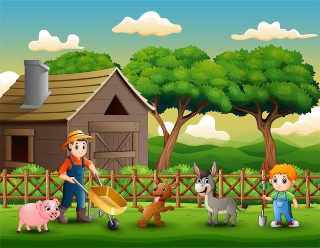 Landwirtschaftliche tätigkeiten auf farmen mit tieren Premium Vektoren