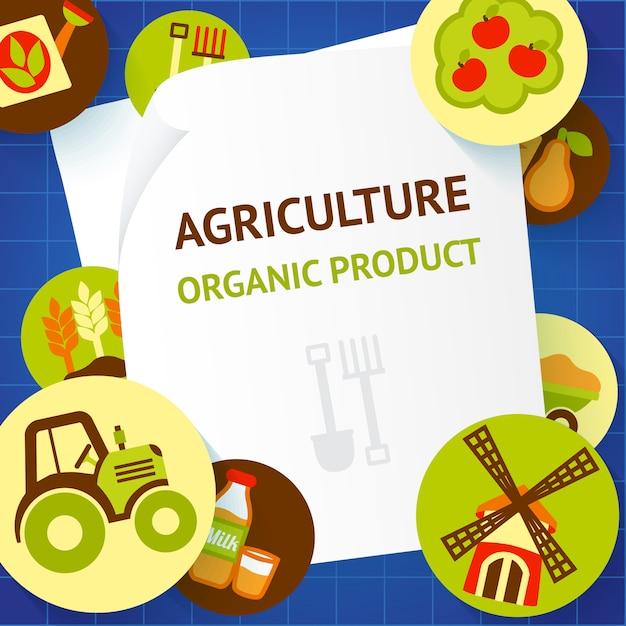 Landwirtschafts-bioproduktdesign Premium Vektoren
