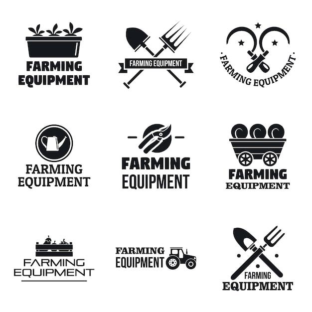 Landwirtschafts-gartengerätelogosatz Premium Vektoren