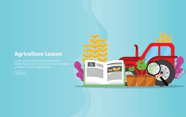 Landwirtschafts-unterrichts-konzept-pädagogische illustrations-fahne Premium Vektoren