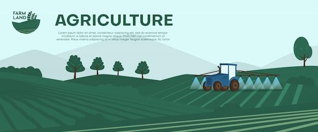 Landwirtschaftsfarm banner. traktor-kultivierungsfeld an der frühlingsillustration. Premium Vektoren