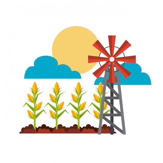 Landwirtschaftskonzept und windmühle Premium Vektoren