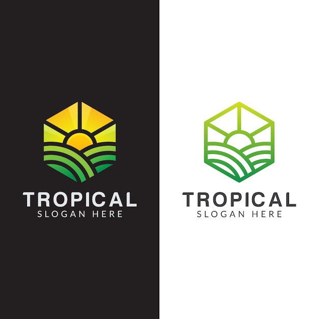 Landwirtschaftslogo, tropisches pflanzenlogo eingestellt mit strichgrafikstil Premium Vektoren
