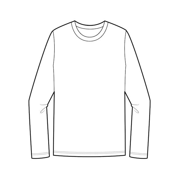 Langärmliges t-shirt mode flache technische zeichnung vorlage Premium Vektoren